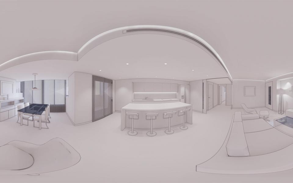Decoracion virtual de salon para proyecto de interiorismo