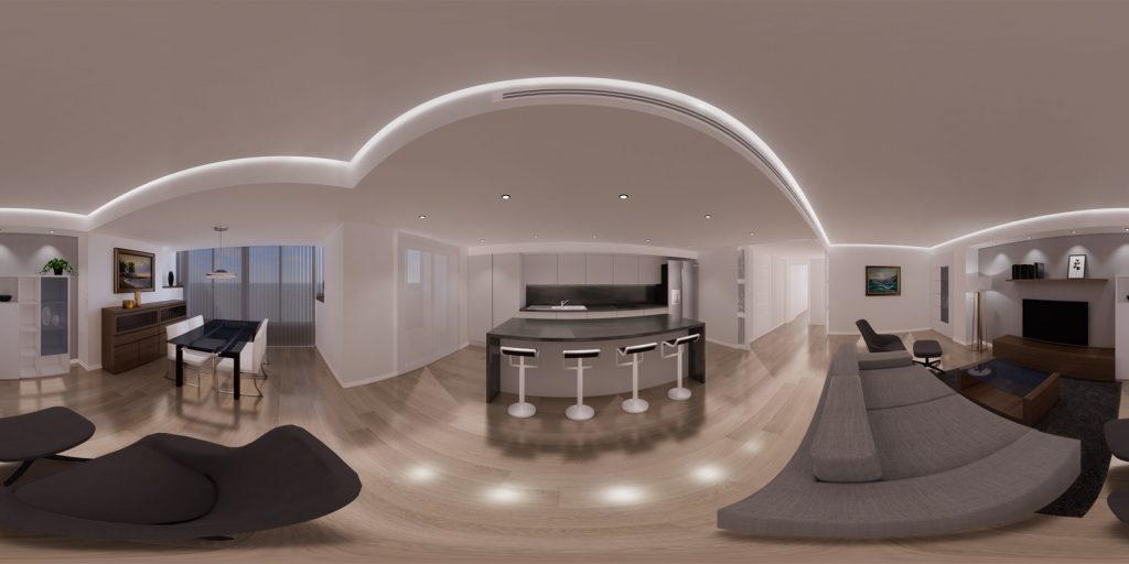 Infografia 360 grados de salon vivienda para proyecto de interiorismo