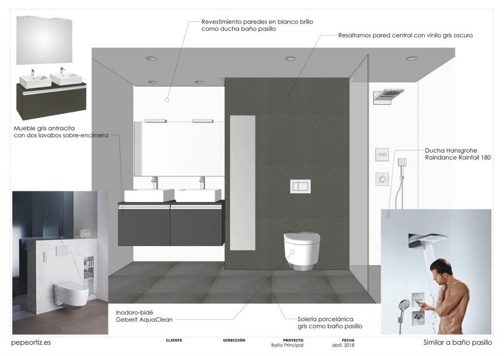 opciones de diseño baño vivienda inodoro suspendido ducha empotrada en Málaga 1