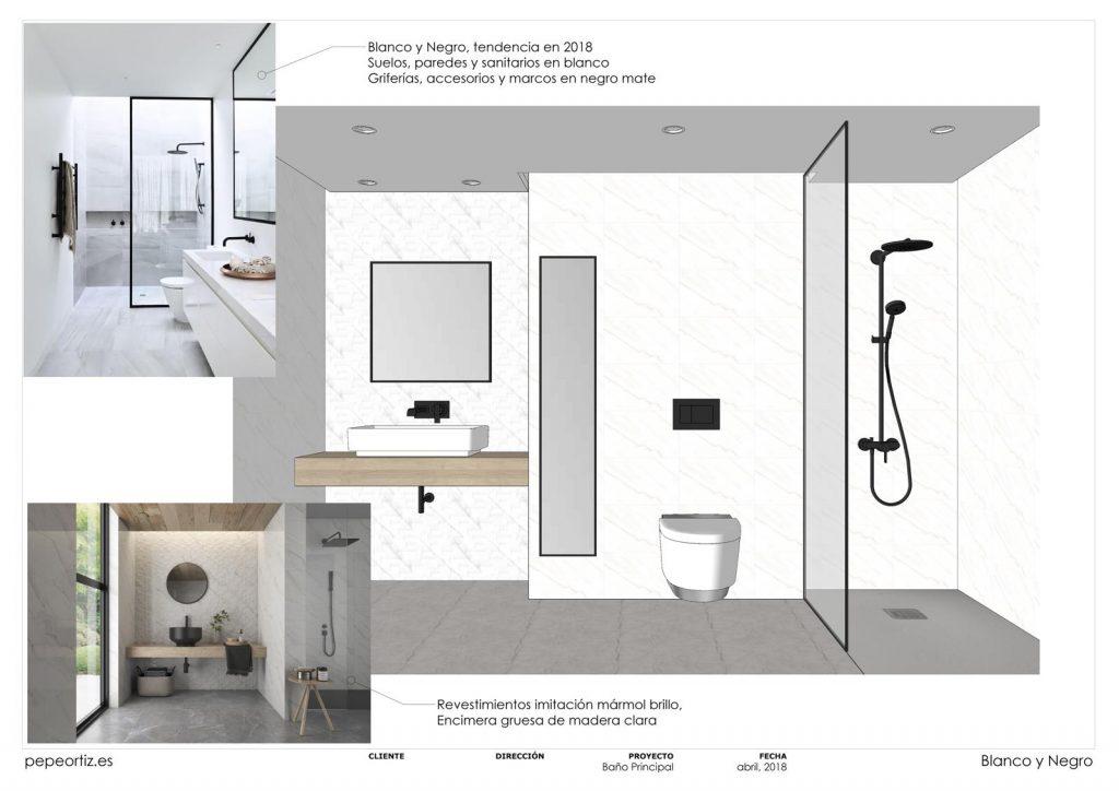 opciones de diseño baño vivienda inodoro suspendido ducha empotrada en Málaga 2