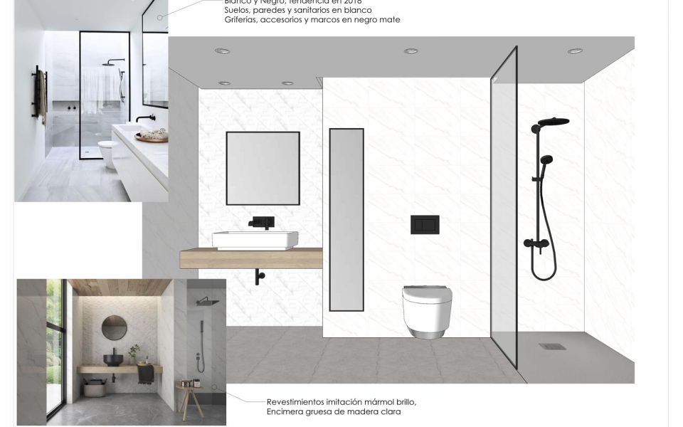 Opciones de diseno de bano en vivienda en Malaga