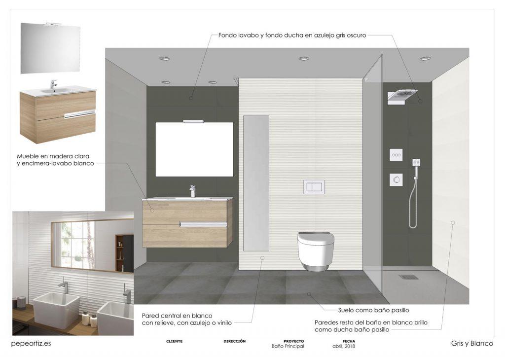opciones de diseño baño vivienda inodoro suspendido ducha empotrada en Málaga 3