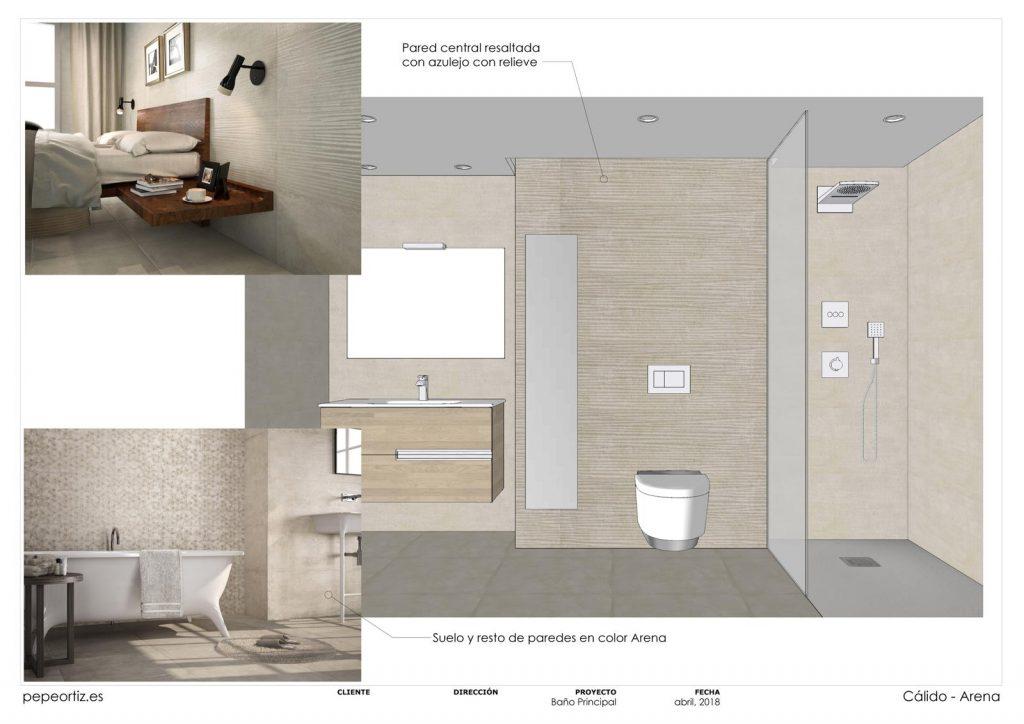 opciones de diseño baño vivienda inodoro suspendido ducha empotrada en Málaga 4