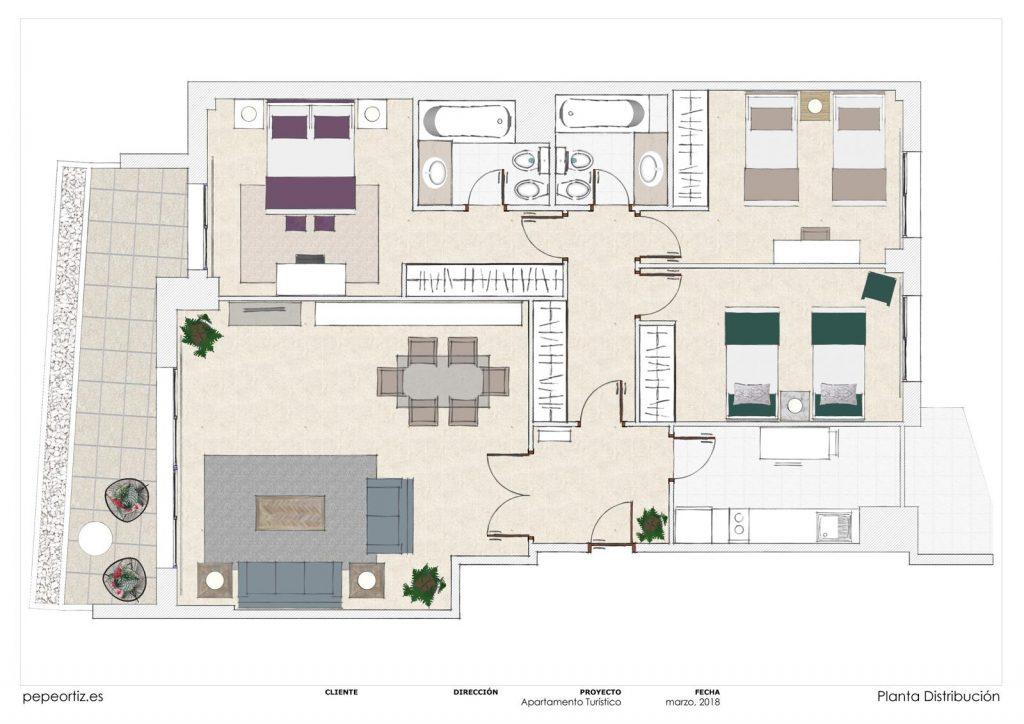 proyecto de mobiliario y decoración piso alquiler Marbella Málaga 1