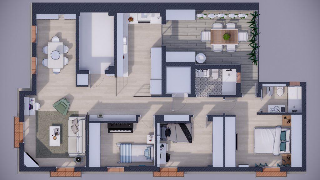 proyecto interiorismo reforma y decoración de vivienda en calle gerona malaga – 1 – vista planta