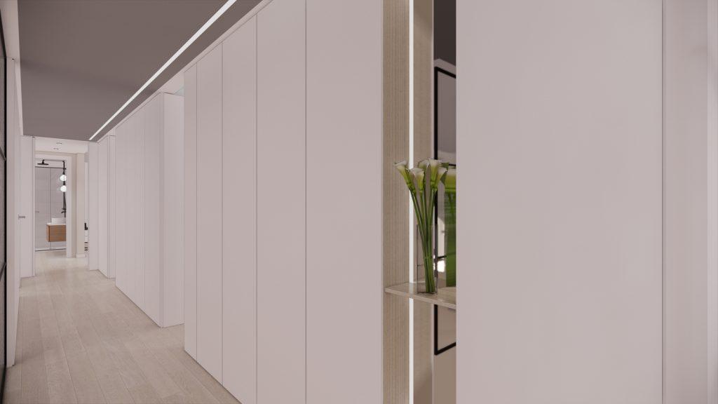 proyecto interiorismo reforma y decoración de vivienda en calle gerona malaga – 10 – pasillo abierto