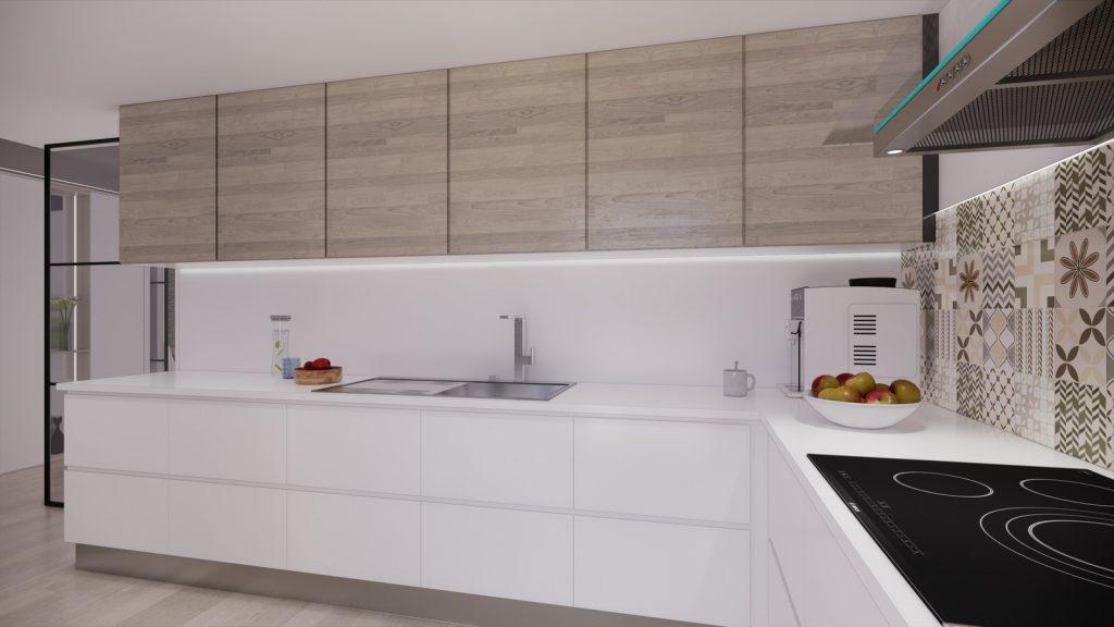 proyecto interiorismo reforma y decoración de vivienda en calle gerona malaga – 12 – cocina lacado y madera
