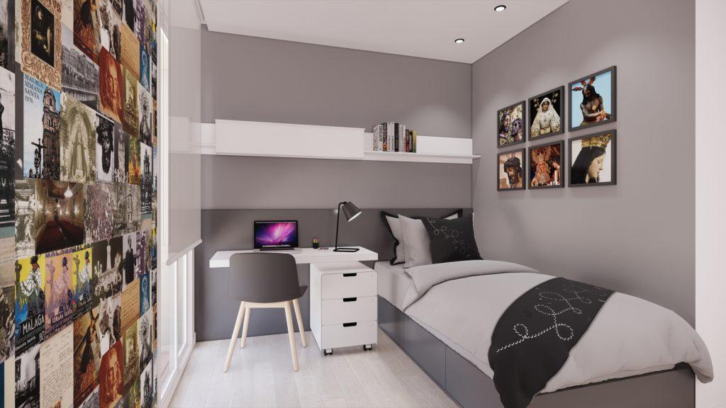 proyecto interiorismo reforma y decoración de vivienda en calle gerona malaga – 15 – dormitorio juvenil semana santa