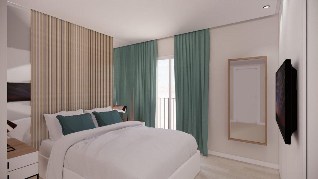 proyecto interiorismo reforma y decoración de vivienda en calle gerona malaga – 18 – dormitorio principal espejos
