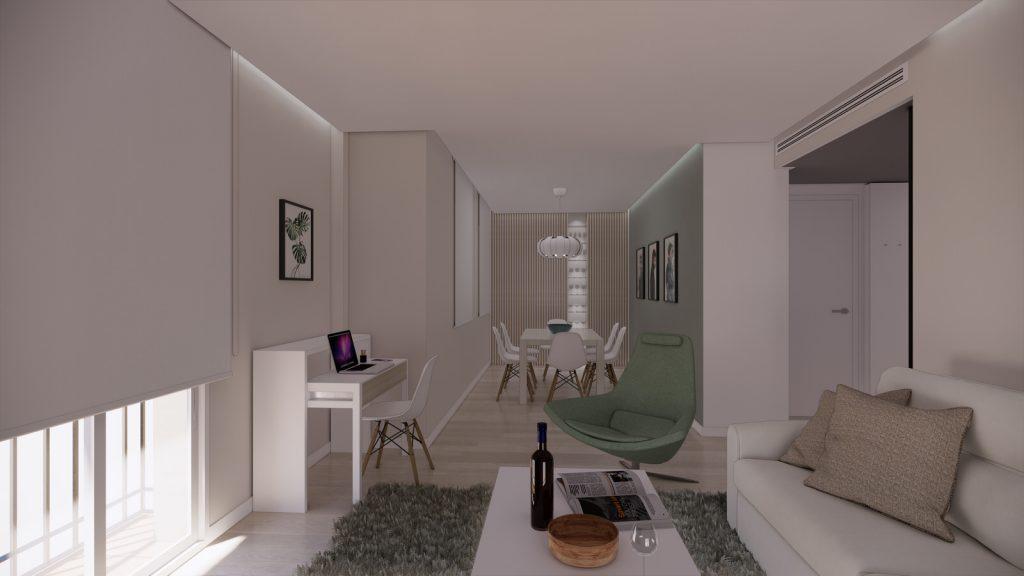 proyecto interiorismo reforma y decoración de vivienda en calle gerona malaga – 2 – salon comedor vitrina ordenador sofa fosas