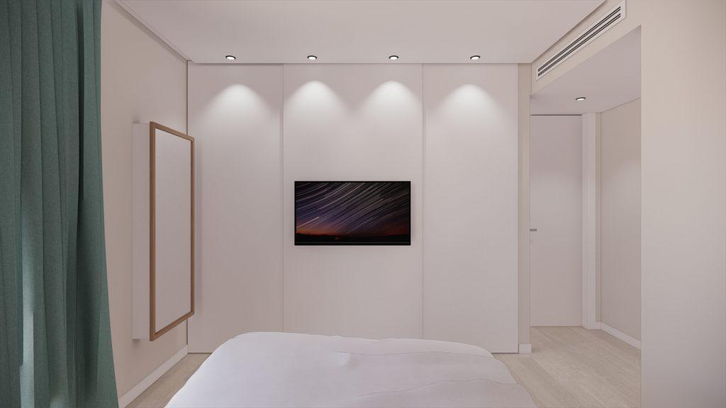 proyecto interiorismo reforma y decoración de vivienda en calle gerona malaga – 20 – dormitorio principal espejo tv