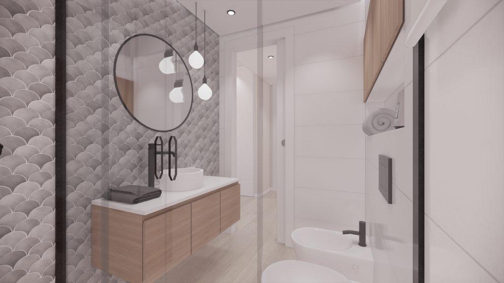 proyecto interiorismo reforma y decoración de vivienda en calle gerona malaga – 22 – bano wc suspendido azujejo escama