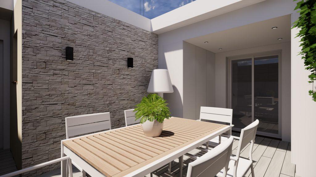 proyecto interiorismo reforma y decoración de vivienda en calle gerona malaga – 23 – terraza dia piedra natural suelo tecnico