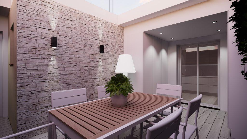 proyecto interiorismo reforma y decoración de vivienda en calle gerona malaga – 24 – terraza noche piedra natural suelo tecnico
