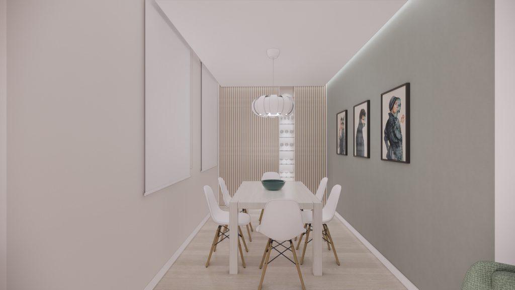 proyecto interiorismo reforma y decoración de vivienda en calle gerona malaga – 3 – comedor vitrina copas fosa cuadros