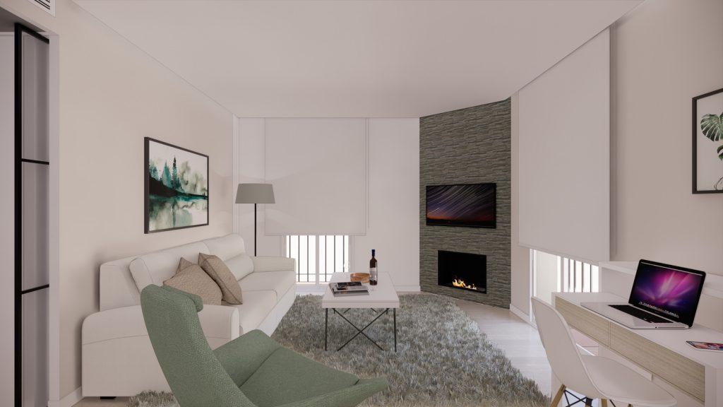 proyecto interiorismo reforma y decoración de vivienda en calle gerona malaga – 5 – salon dia chimenea sofa cortinas fosa ordenador
