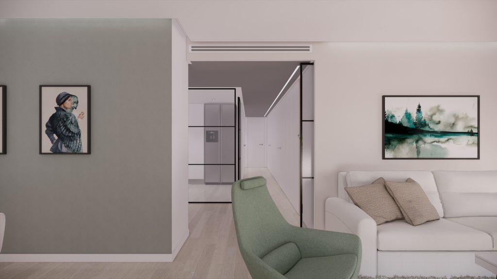 proyecto interiorismo reforma y decoración de vivienda en calle gerona malaga – 7 – salon entrada pasillo