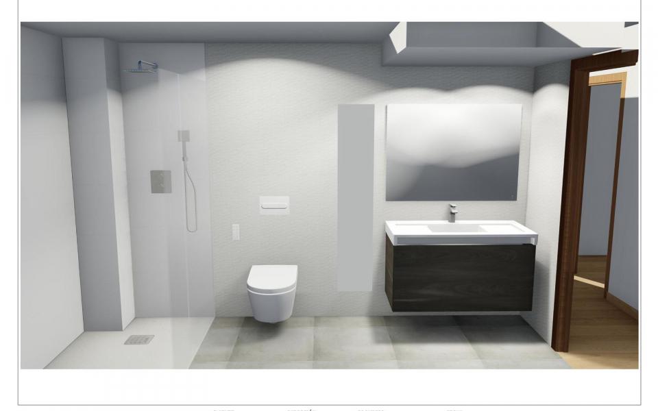 Proyecto de reforma de bano con plato de ducha e inodoro suspendido en Malaga